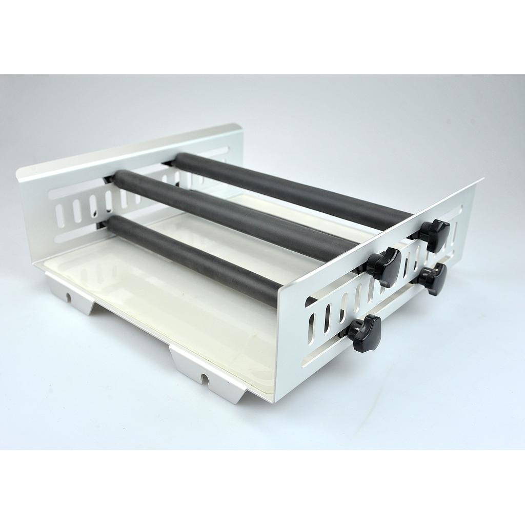 Universal Platform with 4 horizontally adjustable clamping bars for use with various flasks/vessels
