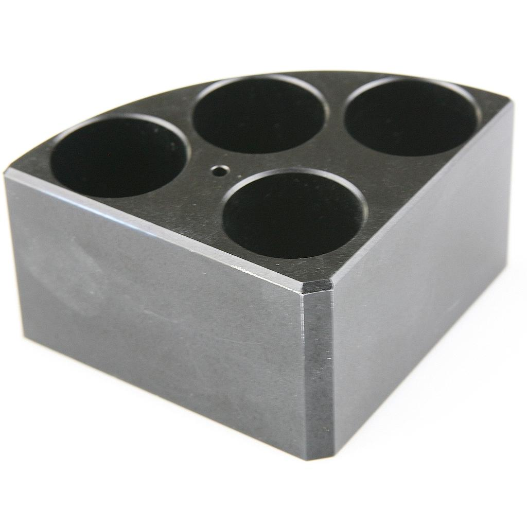 Aluminum Black quarter reaction block, 4 holes 16ml reaction vessel 28mm dia x 43mm depth