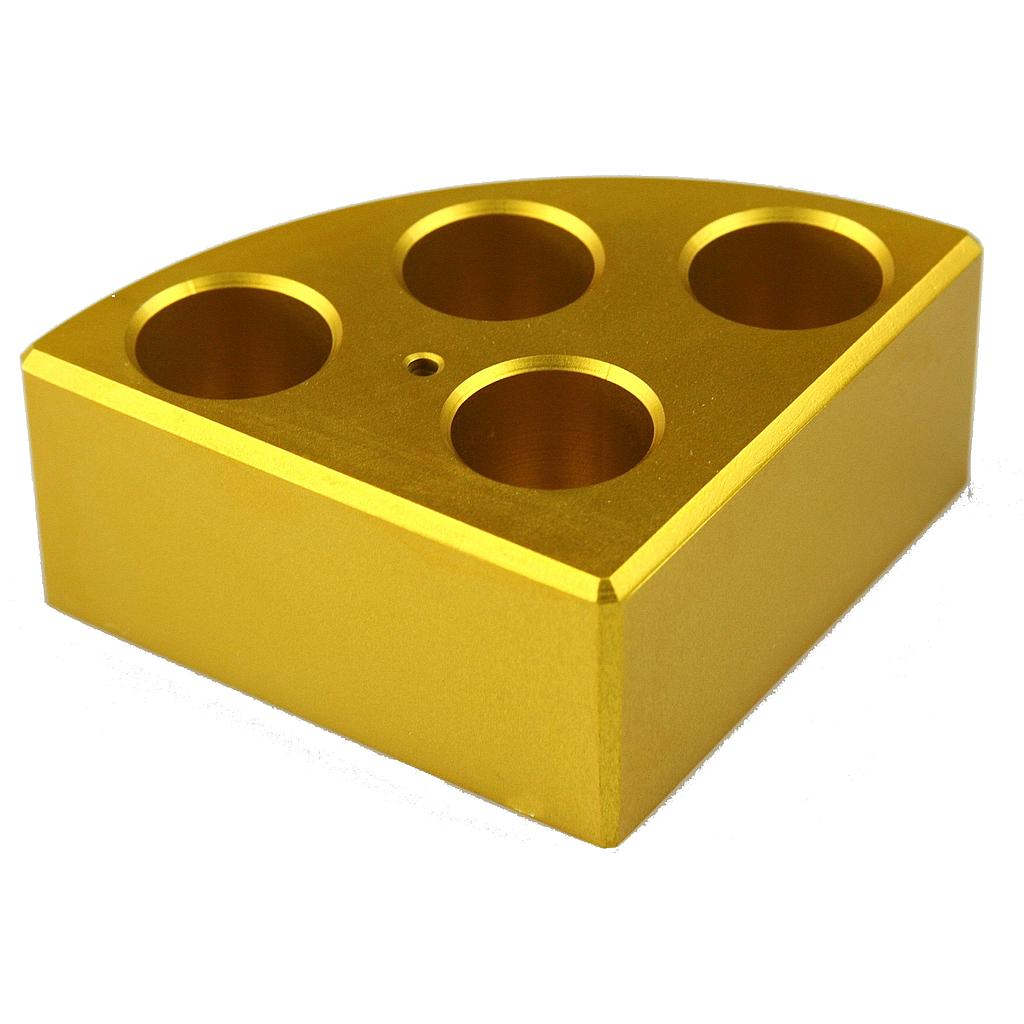Aluminum Gold quarter reaction block, 4 holes 16ml reaction vessel 21.6mm dia x 31.7mm depth