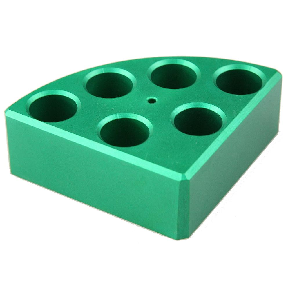 Aluminum Green quarter reaction block, 6 holes 8ml reaction vessel 17.75mm dia x 26mm depth