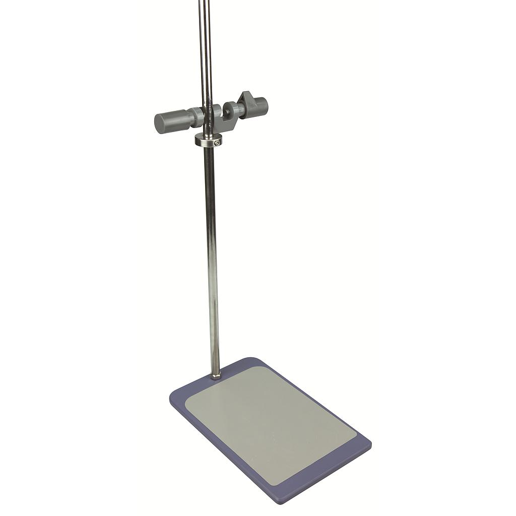 Plate stand with support rod and clamp. Plate size 12inches x 8inches. Rod length 26inches.