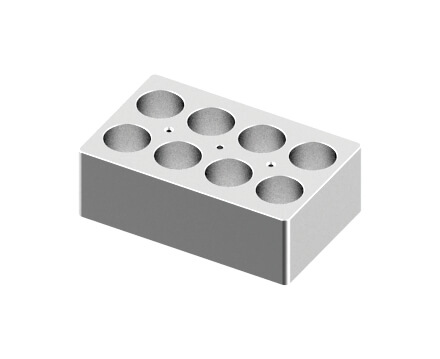 Block, used for 50mL tubes, 8 holes (15 x 9.5 x 5cm)