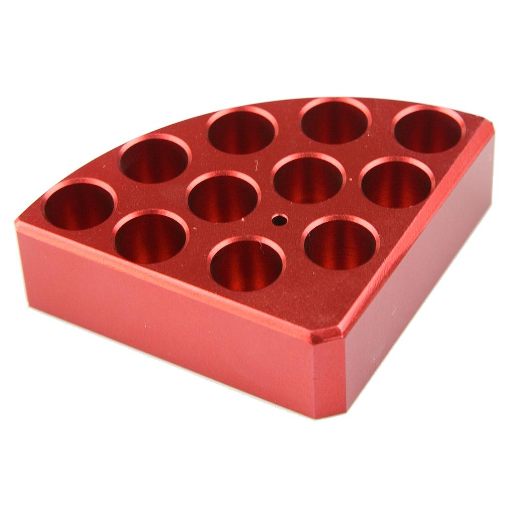 Aluminum Red quarter reaction block, 11 holes 4 ml reaction vessel 15.2mm dia x 20mm depth
